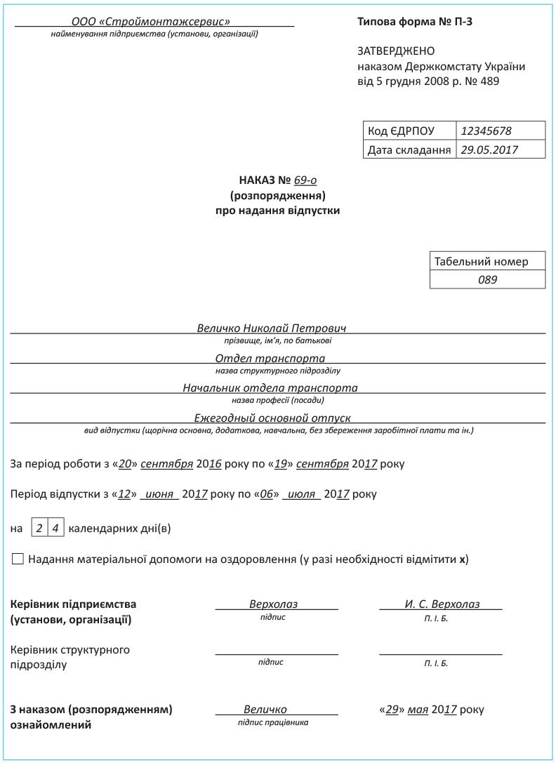 Какие документы обязан предоставить отдел кадров для расчета отпускных